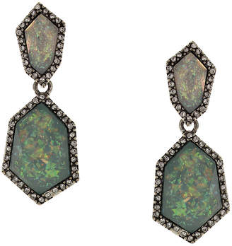 Sparkling Sage Silver Plated Resin Drop Earrings