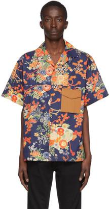 Palm Angels Navy Blooming Short Sleeve Shirt