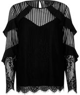 River Island Womens Black lace frill long sleeve top