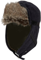 Perry Ellis Men's Wool With Faux Leather Trapper Hat