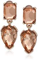 "Kenneth Cole New York Stone Cluster Rose Gold"" Rose Faceted Stone Double Drop Earrings"