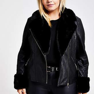 River Island Plus black faux fur quilted biker jacket