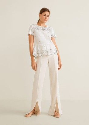 MANGO Embroidered flower top off white - 2 - Women