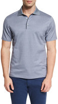 Ermenegildo Zegna Basketweave-Pattern Short-Sleeve Polo Shirt, Navy