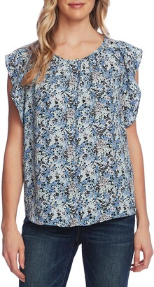 Vince Camuto Peony Fields Flutter Sleeve Top