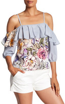 Tracy Reese Cold Shoulder Silk Blouse