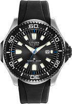 Citizen Eco-Drive Mens Black Silicone-Strap Dive Watch BN0085-01E