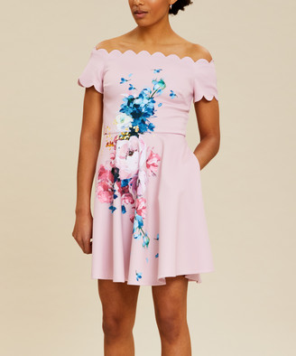Ted Baker Women's Casual Dresses LT-PINK - Light Pink Raspberry Off-Shoulder Sirenta Fit & Flare Dress - Women