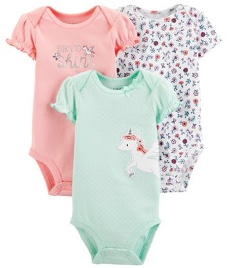 Child of Mine by Carter's Baby Girls Short Sleeve Bodysuits, 3-Pack