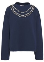 Christopher Kane Crystal-embellished Leather-trimmed French Cotton-terry Sweatshirt