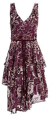 Marchesa Women's Floral Velvet Burnout A-Line Dress