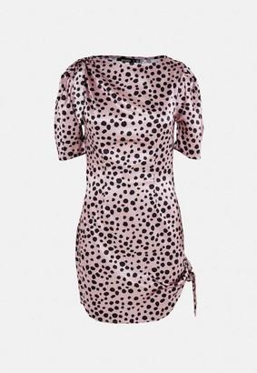 Missguided Blush Dalmatian Print Satin Tie Side Mini Dress