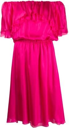 Blumarine Tiered Ruffle Trim Midi Dress