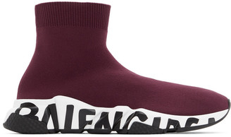 Balenciaga Burgundy and White Graffiti Sole Speed High-Top Sneakers