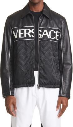 Versace Leather Sleeve Logo Jacket