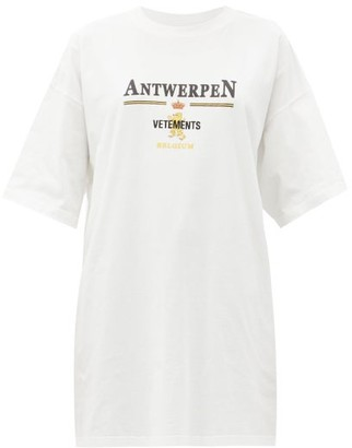 Vetements Antwerpen Logo-print Cotton-jersey T-shirt - White