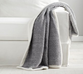 Pottery Barn Braided Ribbed Faux Fur Throw