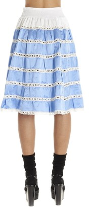Prada Tiered Lace Detail Midi Skirt