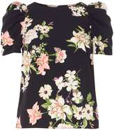 Dorothy Perkins Navy Floral Ruched Sleeve Top