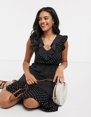 Stradivarius midi dress in black polka dot