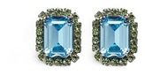 Kenneth Jay Lane Emerald cut stone glass crystal pavé clip earrings