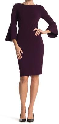 Calvin Klein Bell Sleeve Sheath Dress