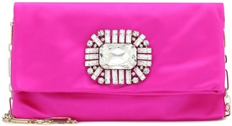 Jimmy Choo Exclusive to Mytheresa Titania embellished satin clutch