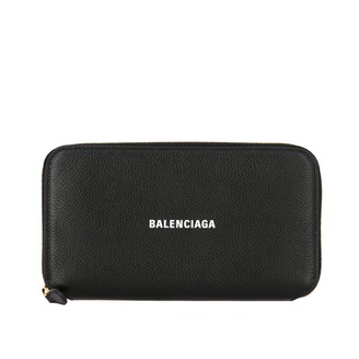 Balenciaga Wallet In Textured Leather With Logo