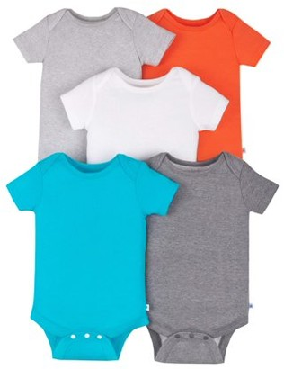 Little Star Organic Baby Girls or Baby Boys Short Sleeve Pure Organic True Brights Bodysuits, 5-Pack