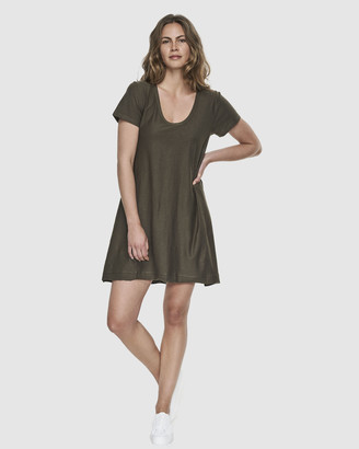 Cloth & Co. - Women's Green Mini Dresses - Organic Cotton Slub Scoop V Dress - Size One Size, S at The Iconic