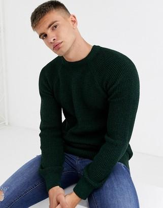 New Look raglan tuck stitch crew neck sweater in dark khaki