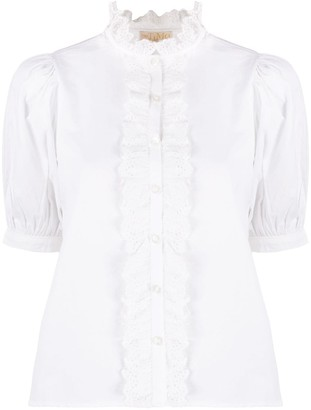 By Ti Mo Poplin Ruffle-Neck Blouse