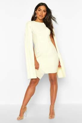boohoo Pleated Cape Sleeve Mini Dress