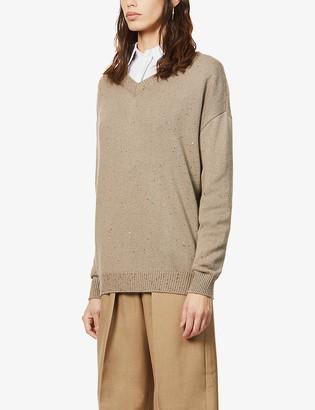 Brunello Cucinelli Sequin-embellished cashmere and silk-blend jumper