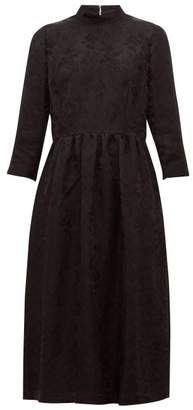 Noir Kei Ninomiya High-neck Floral-jacquard Dress - Womens - Black