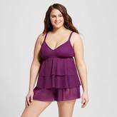 Costa del Sol Women's Plus Size Stripe Crotchet Tiered Tankini Top Purple