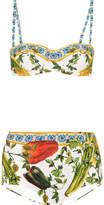 Dolce & Gabbana Printed Bandeau Bikini - Yellow