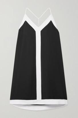 Alice + Olivia Alexi Two-tone Crepe Mini Dress - Black