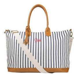 Cathy's Concepts Bride Pinstriped Weekender