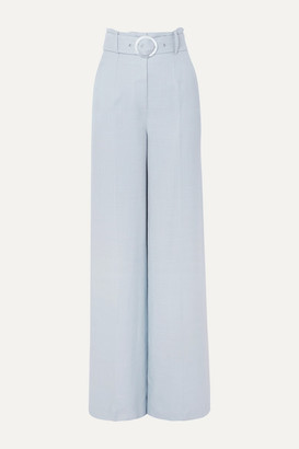 De La Vali Lily Belted Woven Wide-leg Pants - Sky blue