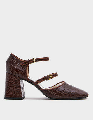 Suzanne Rae Double Strap Mary Jane in Brown Croc