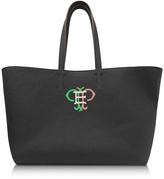 Emilio Pucci Black Leather Tote w/Multicolor Logo