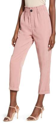 ALL IN FAVOR Gathered High Waist Woven Ankle Pants