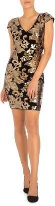 GUESS Sequin-Embellished Mini Velvet Sheath Dress