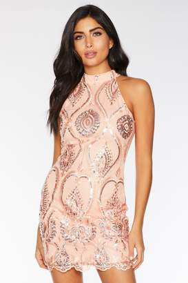 Quiz Coral Embellished High Neck Bodycon Dress