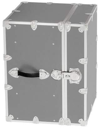 Pottery Barn Teen Canvas Dorm Trunk with Silver Trim, Bedside, Silver