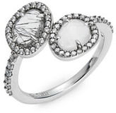Nadri Crystal Pave Two-Stone Sterling Silver Ring