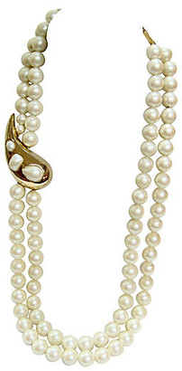 One Kings Lane Vintage Givenchy Gold Paisley Pearl Necklace - Wisteria Antiques Etc