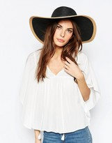 Whistles Contrast Wide Brim Straw Hat