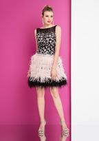 Terani Couture 1721H4554 Illusion Bateau Feathered A-line Dress